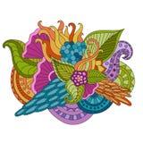Entregue ornamental étnico artístico o quadro floral modelado tirado no estilo da garatuja Foto de Stock