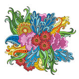 Entregue ornamental étnico artístico o quadro floral modelado tirado no estilo da garatuja Fotos de Stock Royalty Free