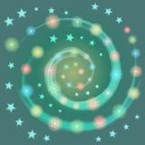 Entregue os flocos de neve Shinning coloridos tirados arranjados na espiral com estrelas Aperfeiçoe para o projeto festivo ilustração royalty free
