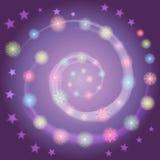 Entregue os flocos de neve Shinning coloridos tirados arranjados na forma da espiral no céu noturno com estrelas Aperfeiçoe para  ilustração do vetor