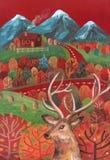 Entregue a paisagem tirada do outono da ilustração do guache com estrada, moun ilustração royalty free
