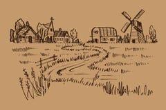 Entregue a paisagem tirada do país, styl da garatuja da ilustração ilustração stock