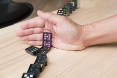 entregue a parada ruído contínuo, impeça o efeito de dominó risco, failu Fotografia de Stock