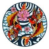 entregue peixes tirados do koi no círculo, a lápis japonês imagem da carpa do vetor do livro para colorir do desenho ilustração stock