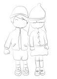 Entregue a página colorindo tirada de um menino e de uma menina que guardam as mãos Fotografia de Stock Royalty Free