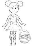 Entregue a página colorindo tirada de uma menina da bailarina com uma cesta de fruto Imagens de Stock Royalty Free