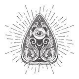 Entregue a placa ornamentado tirada do ouija da arte que confunde o planchette do oráculo isolado Etiqueta chique do boho antigo  ilustração royalty free