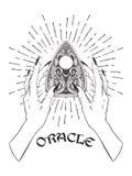 Entregue a placa ornamentado tirada do ouija que confunde o planchette do oráculo nas mãos fêmeas isoladas Etiqueta chique do boh ilustração royalty free