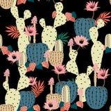 Entregue a planta e as flores do cacto do desenho teste padrão sem emenda exotic ilustração royalty free