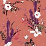 Entregue a planta e as flores do cacto do desenho teste padrão sem emenda exotic ilustração do vetor