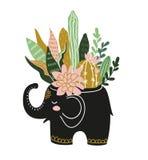 Entregue plantas e flores tropicais tiradas da casa no potenciômetro cerâmico Ilustração escandinava do estilo, projeto da cópia ilustração do vetor