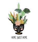 Entregue plantas tropicais tiradas da casa no potenciômetro cerâmico étnico Vetor escandinavo do estilo ilustração royalty free