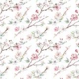 Entregue ramos e flores tirados de árvore da maçã teste padrão sem emenda Fotografia de Stock Royalty Free