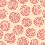 Entregue a rosas tiradas do rosa do vetor silhuetas teste padrão sem emenda no fundo bege ilustração royalty free