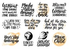 Entregue a rotulação com a criança de lua inspirador das frases, mim precisam mais espaço, você são meu universo etc. O espaço ci ilustração stock