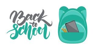 Entregue a rotulação de volta à escola e backpack com lápis e dispositivo ilustração stock