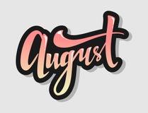 Entregue a rotulação do sinal august ombre do logotipo do mês do ano novo que rotula a caligrafia decorativa do inclinação da tip ilustração royalty free