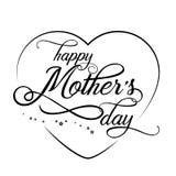 Entregue a rotulação moderna elegante tirada do dia feliz do ` s da mãe isolada no fundo branco Cartão monocromático Vetor ilustração stock