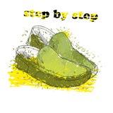 Entregue sapatas tiradas do mocassim com objeto do efeito, da tinta, da arte e da mancha da aquarela Ponto por ponto Mola verde Imagens de Stock