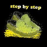 Entregue sapatas tiradas do mocassim com objeto do efeito, da tinta, da arte e da mancha da aquarela Ponto por ponto Mola verde Imagens de Stock Royalty Free