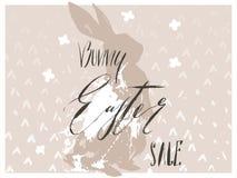 Entregue a sumário tirado do vetor a colagem escandinava gráfica Páscoa feliz cartão bonito das ilustrações da silhueta do coelho Foto de Stock