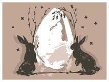 Entregue a sumário tirado do vetor a colagem escandinava gráfica Páscoa feliz silhueta bonito do coelho, ilustrações do ovo da pá Fotografia de Stock