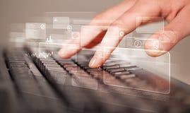 Entregue teclado tocante com elevação - botões da tecnologia Fotos de Stock Royalty Free