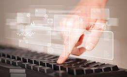 Entregue teclado tocante com elevação - botões da tecnologia Foto de Stock Royalty Free