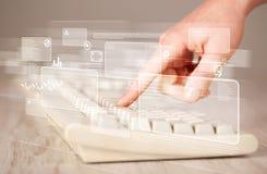 Entregue teclado tocante com elevação - botões da tecnologia Fotos de Stock
