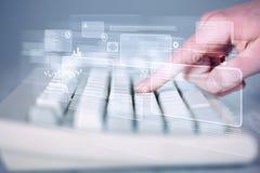 Entregue teclado tocante com elevação - botões da tecnologia Foto de Stock