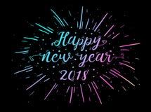 Entregue texto indicado por letras do ano novo feliz 2018 com explosão Foto de Stock