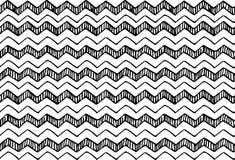 Entregue a textura tirada do teste padrão que repete o monochrome sem emenda, preto e branco Imagens de Stock