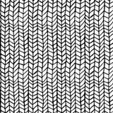 Entregue a textura tirada do teste padrão que repete o monochrome sem emenda, preto e branco Vetor Garatuja à moda da forma Imagem de Stock