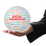 Entregue tomam a bola branca com promoção vermelha de Socical da inscrição Fotografia de Stock Royalty Free