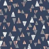 Entregue triângulos textured tribais tirados na obscuridade - teste padrão sem emenda do vetor azul do fundo Desenho geométrico a Imagem de Stock