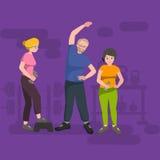 Entrenamiento activo del hombre y de la mujer de la persona de la aptitud en gimnasio stock de ilustración