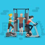 Entrenamiento activo del hombre y de la mujer de la persona de la aptitud en gimnasio ilustración del vector