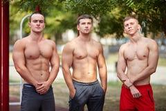 Entrenamiento caliente sin las camisas, tiro lleno del ` s de los hombres del cuerpo Fotos de archivo libres de regalías