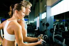 Entrenamiento con pesas de gimnasia Foto de archivo libre de regalías