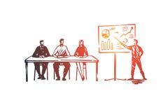 Entrenamiento, cursos, educación, presentación, concepto del seminario Vector aislado dibujado mano ilustración del vector