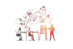 Entrenamiento, cursos, gente, clase, aprendiendo concepto Vector aislado dibujado mano ilustración del vector