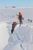 Entrenamiento de campo antártico Foto de archivo libre de regalías