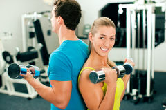 Entrenamiento de la gimnasia con pesas de gimnasia Imágenes de archivo libres de regalías