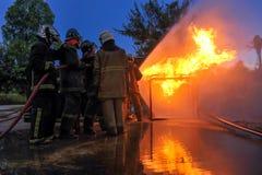 Entrenamiento de la lucha contra el fuego Imagen de archivo