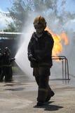 Entrenamiento de la lucha contra el fuego Fotografía de archivo