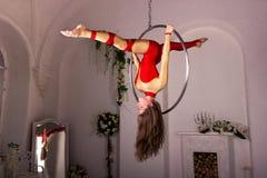 Entrenamiento de la muchacha en el anillo aéreo Imagenes de archivo