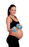 Entrenamiento de la mujer embarazada de la morenita con pesas de gimnasia Imagen de archivo libre de regalías
