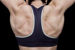 Entrenamiento de la mujer en un gimnasio Foto de archivo