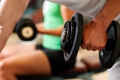Entrenamiento de la pesa de gimnasia en gimnasia Imagen de archivo