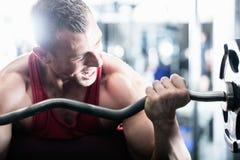 Entrenamiento de la pesa de gimnasia en gimnasio Fotografía de archivo libre de regalías